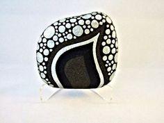 Unique 3D Art Object, OOAK, Painted Rock, Black Silver Glitter Pebbles Design, Home Decor, Office Decor, via Etsy