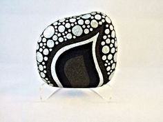 Unique 3D Art Object, OOAK, Painted Rock, Black Silver Glitter Pebbles Design, Home Decor, Office Decor, via Etsy