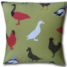 Cushion Covers Cock a Leekie Olive Oil Chickens Ducks Hens Green background Animal Cushions, Green Cushions, Cushions On Sofa, Cushion Covers Uk, Pillow Covers, Cotton Pillow, Green Backgrounds, Hens, Traditional House