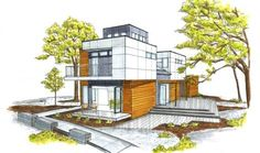 50 plus rendered sketches/architecture renderings u may like. Model Architecture, Architecture Design Concept, Interior Architecture Drawing, Architecture Sketchbook, House Design Drawing, Perspective Sketch, Casas Containers, Appartement Design, House Sketch