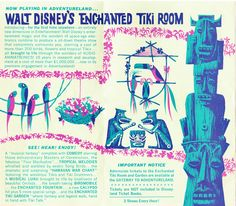 June 23 1963 Walt Disney's Enchanted Tiki Room Today at Disneyland brochure Disney Birds, Disney Love, Disney Magic, Disney Art, Disney Pixar, Tiki Room Disney, Walt Disney Imagineering, Disney Enchanted, Tiki Decor