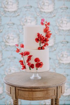 This red wedding inspo at a French chateau is getting us all geared up for fall - 100 Layer Cake