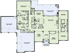 Big house, but I like aspects of it.. Jack n Jill bathroom... 1/2 bath that goes to the back porch. - Really like this layout.  Turn the front garage into a play/school room and make an entry from the side garage through the laundry room.  Make the Safe Room holiday decorations/gift wrapping storage.