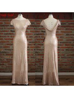 nude gold bridesmaid dress,Long bridesmaid dress,sequin bridesmaid dress,sparkle bridesmaid dress,BD821