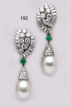 Art Deco Pearl, Baguette Diamond, Diamond, Emerald And Platinum Earrings Made By Boucheron, Paris.