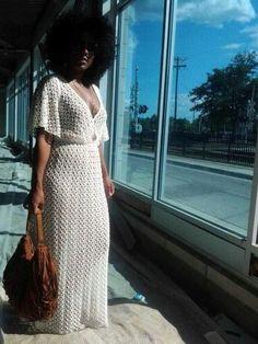 Items similar to Handmade Crochet Maxi Dress - Urban Chic Dress, Gypsy Style Dress, Long Crochet Dress, Hobo Chic, Beach wedding dress on Etsy Hobo Chic, Look Fashion, Girl Fashion, Fashion Dresses, Curvy Fashion, 80s Fashion, Casual Maxi Dresses, Urban Chic Fashion, Club Fashion
