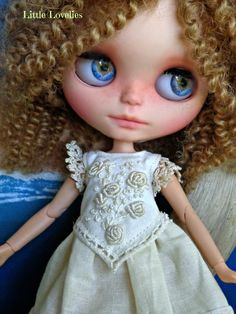 "Blythe or Pullip Doll  OOAK -""Classic Cream"" - embroidered pure linen with crochet sleeves by LittleLovelieShop on Etsy"