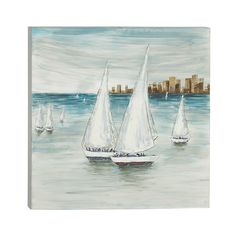 'Simply Cool' Blue/White Canvas Art