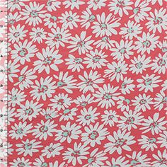 Light Gray Daisies on Coral Cotton Spandex Knit Fabric - Girl Charlee