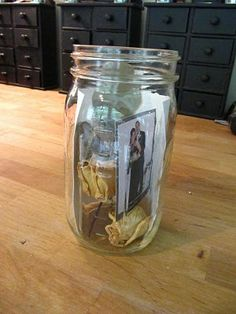 Using canning jars as tiny mementos of special days or vacations. How pretty would it be, years later, to have a shelf of memories lined up in the living room?