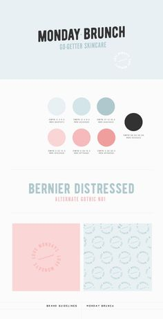 Branding document for Monday Brunch, a USA-based skincare line aimed at young millenials. Brand Identity Design, Graphic Design Branding, Logo Branding, Corporate Branding, Corporate Design, Brochure Design, Web Design, Skincare Logo, Marca Personal