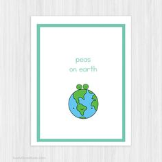 Cute Pun Christmas Card For Friend Her Him Fun Funny Peas on Earth Handmade Greeting Cards Illustration Happy Holidays Gifts Gift Ideas