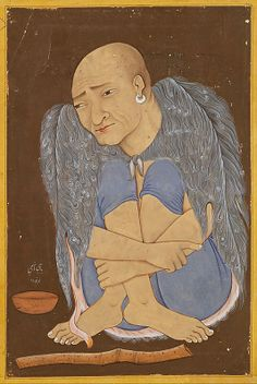 """Portrait of a Sufi (first quarter 17th century, India, Deccan, probably Bijapur; Ink, opaque watercolor, and gold on paper) """"The primitive fur, the alms bowl, the flute, and the trance-like meditative state identify this figure as a dervish, or a sufi, a Muslim mystic who has renounced the material aspects of existence...The invocation at the lower left, 'Oh Prophet of the House of Hashim from thee comes help,' referring to the prophet Muhammad, is in Persian."""""""