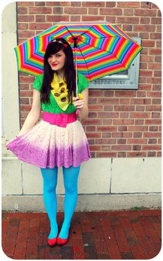 Happy Monday Everyone! This weekend was a little gloomy so I took some outfit photos under my bright rainbow umbrella :) . Colored Tights Outfit, Blue Tights, Fishnet Leggings, Tight Leggings, Cute Skirts, Mini Skirts, Pantyhose Outfits, Nylons, Zendaya Style