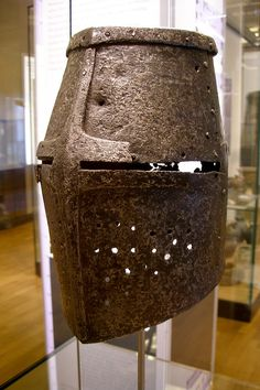 Medieval German helmet. Usually worn over a leather head cap, this type of full-face, unlined helmet was heavy and interfered with the line of sight. It did provide adequate protection against smashing strikes to the head but it would more likely not protect the wearer from a long sword. An additional impediment was that this type of helmet tended to move once sitting on one's head as it was usually made to just a rough measurement of the wearer's head.