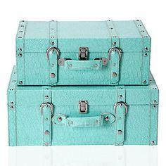 Aquamarine Veneto Suitcase duo brings hip and high fashion storage. $79.95