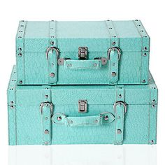 Aquamarine Veneto Suitcase duo brings hip and high fashion storage.