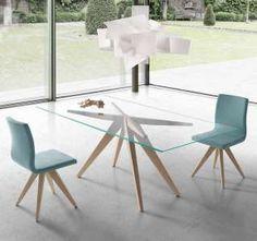 Table bois plateau verre | Meubles pour le cabinet