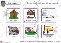 Teacher's Pet - Houses and Homes cards - Premium Printable Game / Activity - EYFS, materials, countries, live, ourselves School Projects, School Ideas, Pet Houses, Home Themes, Teacher's Pet, Get Educated, Estate Agents, Family Album, Little Pigs