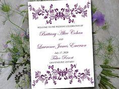 "Plum Purple Wedding Program Template Fold Over ""Alice"" Booklet Program Order of Service Half Fold Program Timeline DIY Wedding Printable by PaintTheDayDesigns on Etsy"