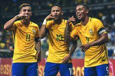 Coutinho, Neymar, and Gabriel Jesus Goal Celebration. International Break.