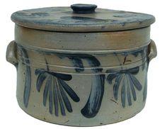 Pennsylvania stoneware lidded cake crock, 19th century,Blue decorated stoneware eared cake crock with cover