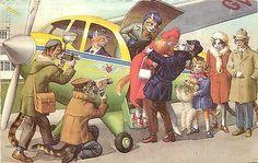 Mainzer Hartung Postcard 4996 Dressed Lady Cat Gets Off Plane, Cameras Paparazzi