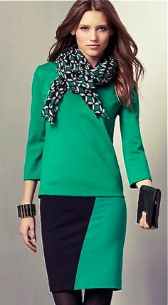 Ann Taylor....Emerald green and navy...nice.
