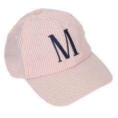 81bc5460c106d Seersucker Monogrammed Baseball Caps in Blue