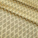 Libra Upholstery Fabric in Frost Cream Trellis Print Silk & Linen Blend. A silky trellis patterned fabric with chenille diamonds made in India with 68% Silk & 32% Linen. Opposing textures make this a dimensional fabric perfect for an upholstering project, drapery, or accent pillows.