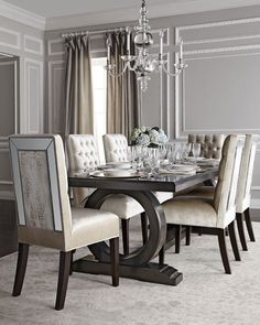 Shop Brittney Mirrored Dining Chair & Alden Trestle Dining Table from Haute House at Horchow, where you'll find new lower shipping on hundreds of home furnishings and gifts. Dining Room Table Decor, Trestle Dining Tables, Elegant Dining Room, Luxury Dining Room, Dining Table Design, Dining Room Sets, Dining Room Furniture, Dining Chairs, Dinning Table Centerpiece