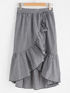 Falda de cuadros con ribete de volantes asimétricos -Spanish SheIn(Sheinside)