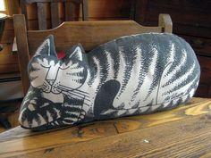 Original 1970s B Kliban Cat Pillow Black & by DownEastCollectibles