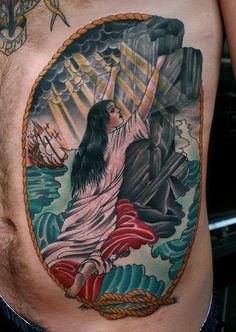 American Traditional Cross Tattoo