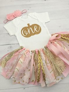 Pink and Gold Fall Theme Birthday Outfit with Headband