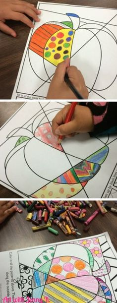 10 art activities for Halloween and great pumpkin ideas for Fall lessons.