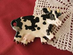 Black and White Cow Ceramic Teabag Holder by GlazeCrazyFiredArts