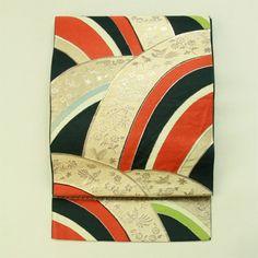 Black seikaiha pattern, fukuro obi / 黒地 変わり青海波柄 六通袋帯   #Kimono #Japan  http://www.rakuten.co.jp/aiyama/