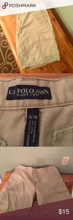 """US Polo Association waist size 38 khaki shorts US Polo Association waist size 38 khaki shorts.  These cargo shorts were only worn a few times and are in EUC.  They have a 9 1/2 """" inseam and are 20 1/2 """" from top of short to bottom.  It comes from a smoke free and pet free home.  Bundle and save! U.S. Polo Assn. Shorts Cargo"""