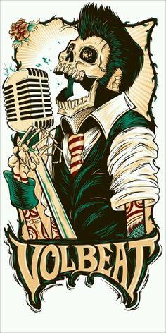 T-Shirt / poster design for Danish rock band Volbeat. Psychobilly, Volbeat Tattoo, Images Graffiti, Desenhos Old School, Rockabilly Art, Gothabilly, Poster Design, Band Posters, Concert Posters