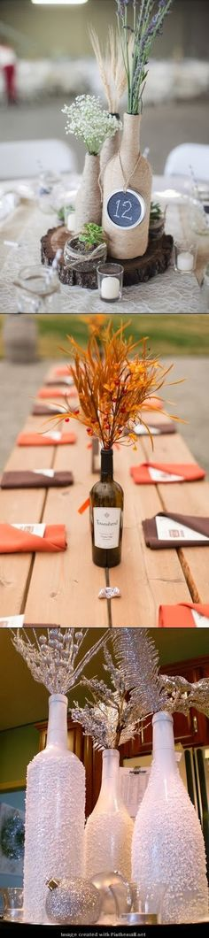 DIY-Amazing wedding bottles  This is a stunning idea, perfect for winter weddings. These are wine  bottles that look like they have s...