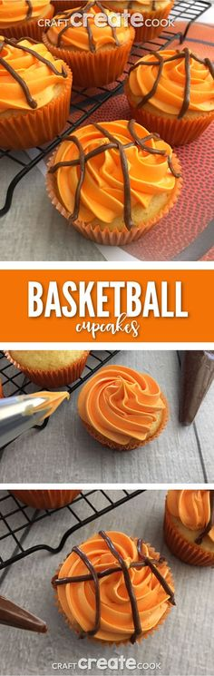 These Easy Basketball Cupcakes will make any sports Birthday party a ball.  via @CraftCreatCook1