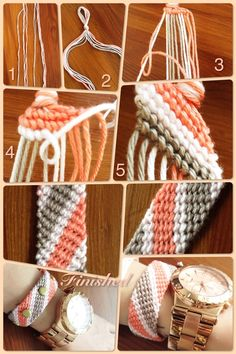 Diy Bracelets Patterns, Yarn Bracelets, Bracelet Crafts, Bracelet Designs, Jewelry Crafts, Braided Bracelets, String Bracelet Patterns, String Bracelets, Embroidery Bracelets