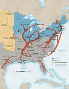 Arrows show major escape routes on the Underground Railroad. The width of the arrows gives some indication of which routes carried the most people. The goal of most fugitive slaves was Canada, but some found freedom in Mexico and the Caribbean islands. After the Civil War, many returned to the US.