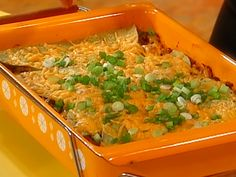 Mexican Lasagna by Rachael Ray. Super easy to make! I've used ground turkey and ground beef before instead of chicken.