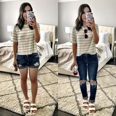 Cute ways to wear a a stripe tee and white birkenstocks transitional outfit from wint Cute Winter Outfits, Spring Outfits, Casual Outfits, Fashion Outfits, Women's Fashion, All White Birkenstocks, Birkenstock Sandals Outfit, Cute Outfits With Leggings, White Jeans Outfit