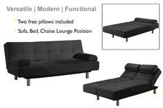 Jamaica Black Microfiber Sofa Bed    http://www.thefutonshop.com/Sofa-Bed-Jamaica-Black-Lifestyle-Solutions/p/656/2685