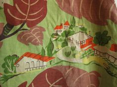 1930s or 1940s huge floor pillow slipcover or fabric novelty print canvas with neighborhoods, houses, and trees.  love this fabric, its kind of large-scale scenes of neighborhoods and houses peeking between abstract leaves and vines. Very art-deco, gorgeous colors, the background is a nile green or jadeite/jadite color. the shape of this is like a big pillow-slip, with a 4 depth. each side is 29 tall by 24 wide. So it is quite a bit of fabric, or you can just put the slip on a large pillow…
