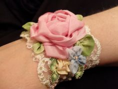 hand dyed silk ribbon flower cuff
