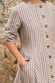 Linen coat by Somdress / Oksana Solovaya Plain Kurti Designs, Simple Kurta Designs, Salwar Designs, Kurta Designs Women, Kurti Designs Party Wear, Stylish Dress Designs, Stylish Dresses, Casual Dresses, Kurtha Designs